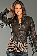 Rock & Roll Womens Cowgirl Faux Leather Fringe Jacket - Brown