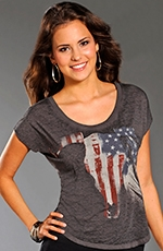 Rock & Roll Cowgirl Womens Flag Skull Top - Grey (Closeout)