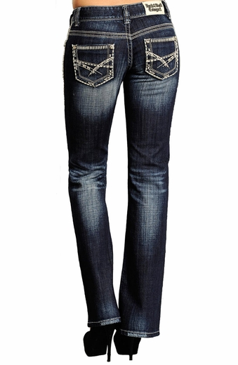 Rock & Roll Cowgirl Womens Low Rise Boot Cut Jeans with Abstract Pocket