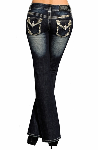 Rock & Roll Womens Cowgirl Low Rise Boot Cut Jeans with Railroad Stitch (Closeout)