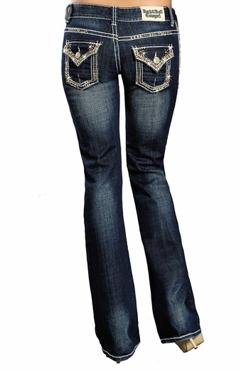 Rock & Roll Womens Cowgirl Low Rise Boot Cut Jeans with Stones (Closeout)