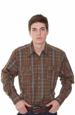 Rockmount Men's Classic Long Sleeve Plaid Western Snap Shirt - Green Multi