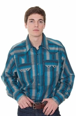 Rockmount Men's Jacquard Long Sleeve Western Check Snap Shirt - Blue Multi