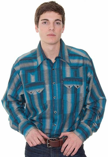Rockmount Men's Jacquard Long Sleeve Western Check Snap Shirt - Blue Multi (Closeout)