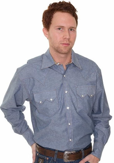 Rockmount Men's Long Sleeve Chambray Western Snap Shirt with Paisley Trim (Closeout)
