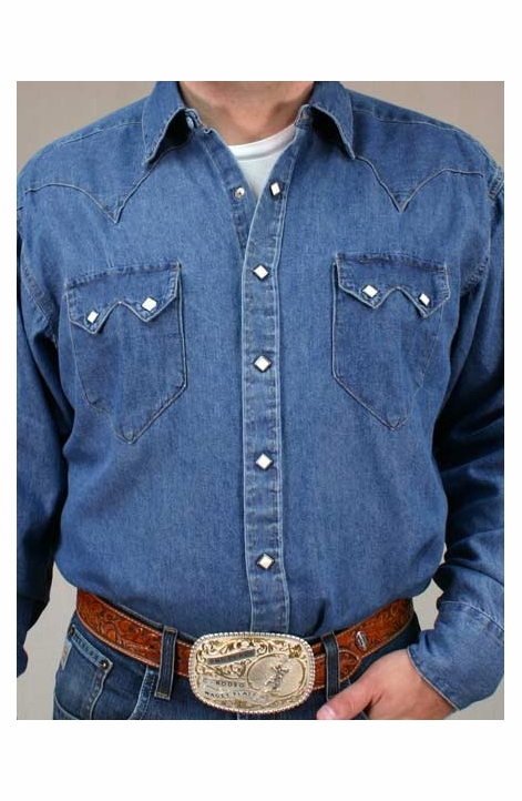 Rockmount Men's Long Sleeve Denim Stonewash Snap Shirt