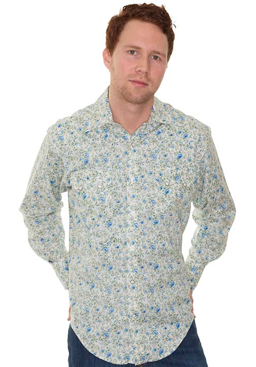 Rockmount Men's Long Sleeve Floral Print Western Snap Shirt - Natural