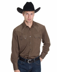 Rockmount Men's Long Sleeve Herringbone Snap Shirt - Brown (Closeout)
