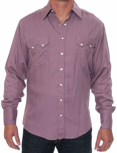 Rockmount Men's Long Sleeve Herringbone Western Snap Dress Shirt - Mauve