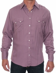 Rockmount Men's Long Sleeve Herringbone Western Snap Dress Shirt - Mauve (Closeout)