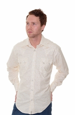 Rockmount Men's Long Sleeve Leaf Print Western Snap Shirt - Ivory (Closeout)