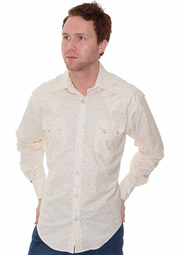 Rockmount Men's Long Sleeve Leaf Print Western Snap Shirt - Ivory