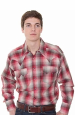 Rockmount Men's Long Sleeve Ombre Plaid Western Snap Shirt - Red Multi (Closeout)
