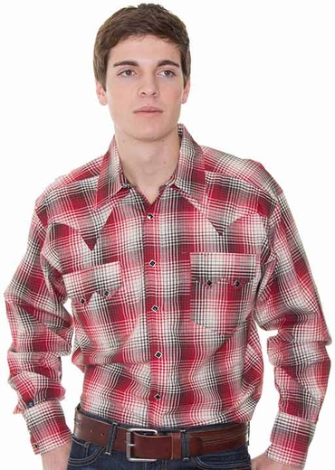 Rockmount Men's Long Sleeve Ombre Plaid Western Snap Shirt - Red Multi