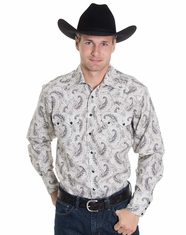 Rockmount Men's Long Sleeve Paisley Snap Shirt - Black