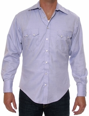 Rockmount Men's Long Sleeve Pima Cotton Herringbone Snap Dress Shirt - Blue