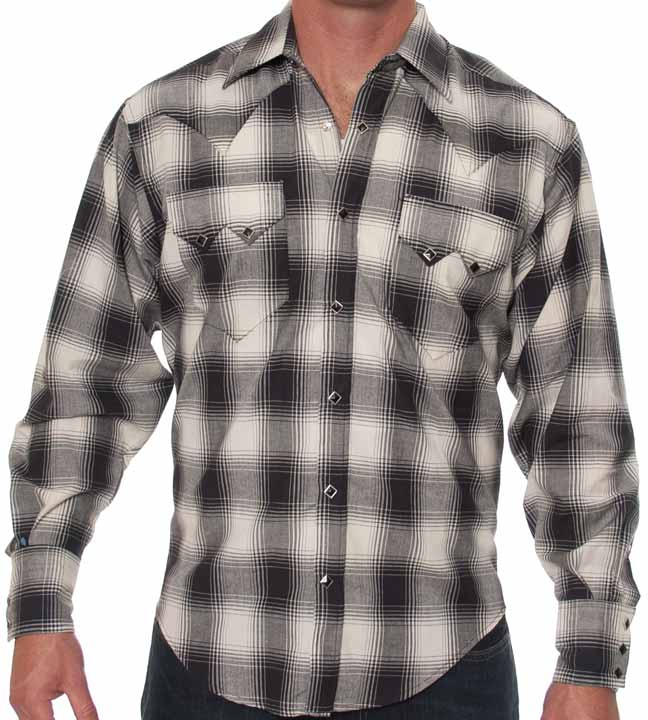 Rockmount Men's Long Sleeve Plaid Snap Shirt - Black