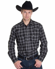 Rockmount Men's Long Sleeve Plaid Snap Shirt - Black/Grey (Closeout)