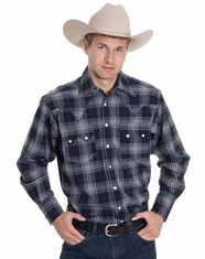 Rockmount Men's Long Sleeve Plaid Snap Shirt - Navy (Closeout)