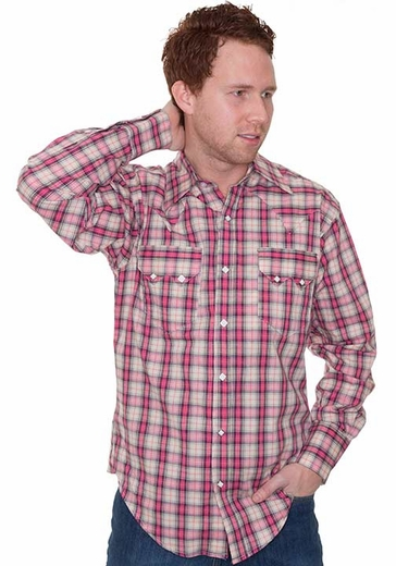 Rockmount Men's Long Sleeve Plaid Western Snap Shirt - Pink