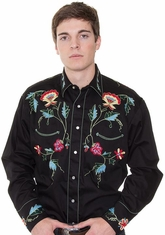 Rockmount Men's Long Sleeve Vintage Western Snap Shirt with Floral Embroidery - Black