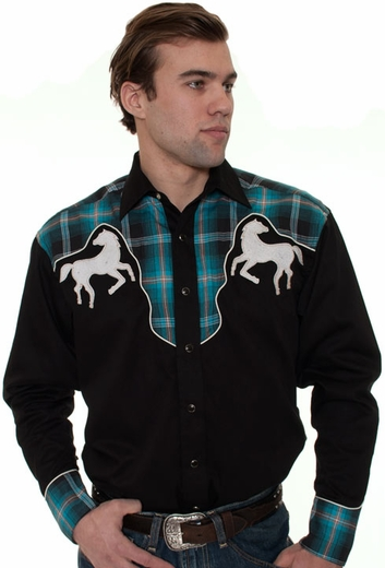 Rockmount Men's Long Sleeve Western Snap Shirt with Horse Embroidery