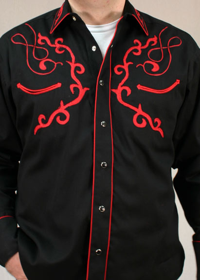 Rockmount Men's Sugar Skull Western Snap Shirt - Black