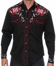 Rockmount Men's Vintage Floral Western Snap Shirt - Black (Closeout)