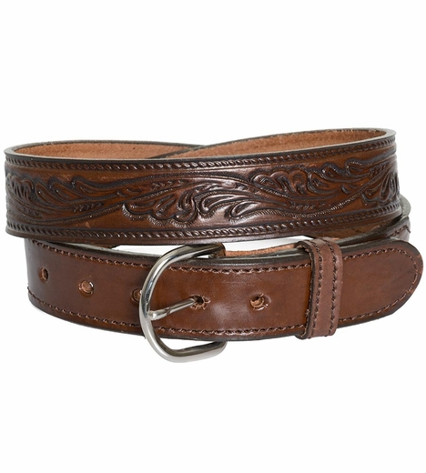 Rockmount Mens Leaf Stamp Western Belt - Brown (Closeout)