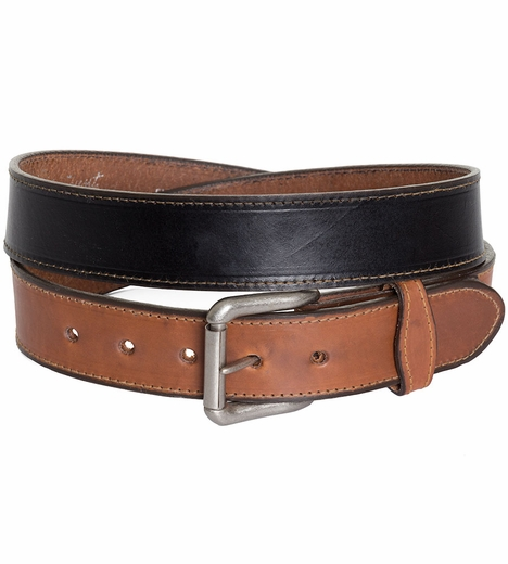 Rockmount Mens Two-Tone Western Belt - Black/Tan (Closeout)