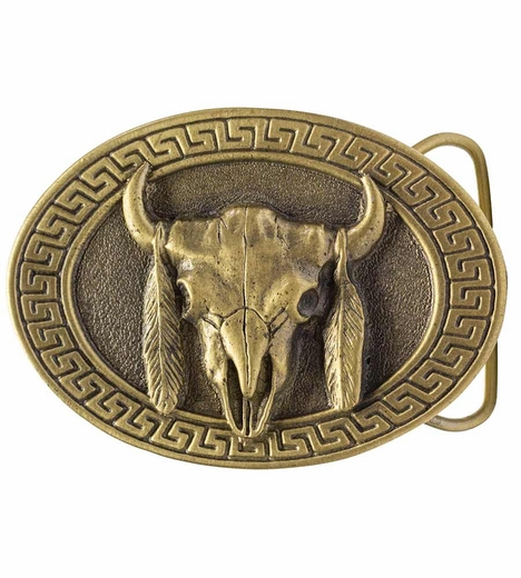 Rockmount Mens Western Buckle - Skull/Feathers (Closeout)