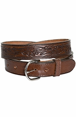 Rockmount Mens Leaf Stamp Western Belt - Brown