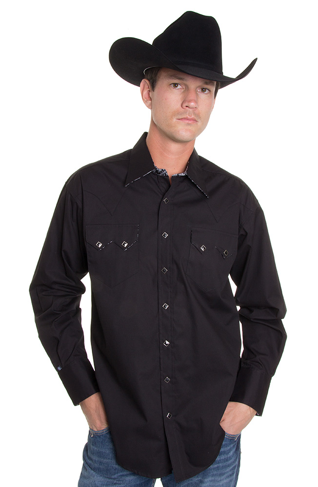 Rockmount Mens Long Sleeve Snap Western Shirt - Black Skull