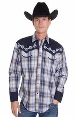 Rockmount Mens Two Tone Plaid/Floral Western Shirt