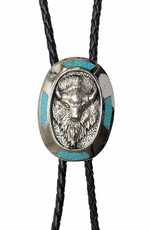 Rockmount Mens Western Bolo Tie - Turquoise Buffalo (Closeout)