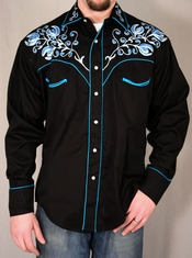 Rockmount Ranch Wear - Men's L/S Black Western Snap Shirt with Blue Floral Embroidery