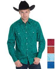 Rodeo Men's Long Sleeve Paisley Print Snap Shirt - Multiple Colors