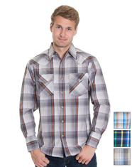 Rodeo Men's Long Sleeve Plaid Snap Shirt - Multiple Colors (Closeout)