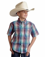 Roper Boy's Short Sleeve Button Down Shirt - Blue