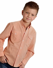 Roper Boy's Long Sleeve Check Button Down Shirt - Orange (Closeout)