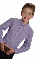 Roper Boy's Long Sleeve Check Button Down Shirt - Purple (Closeout)
