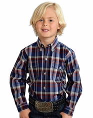 Roper Boy's Long Sleeve Plaid Button Down Shirt - Blue (Closeout)