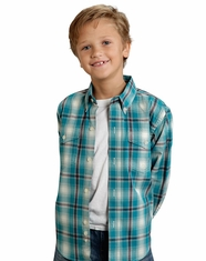 Roper Boy's Long Sleeve Plaid Button Down Shirt - Turquoise