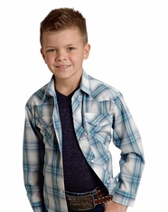Roper Boy's Long Sleeve Plaid Snap Shirt - Blue