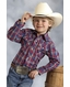 Roper Boy's Long Sleeve Plaid Snap Shirt - Blue (Closeout)