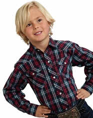 Roper Boy's Long Sleeve Plaid Snap Shirt - Blue/Red (Closeout)