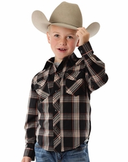 Roper Boy's Long Sleeve Plaid Snap Shirt - Brown