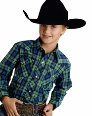 Roper Boy's Long Sleeve Plaid Snap Shirt - Navy