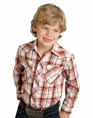 Roper Boy's Long Sleeve Plaid Snap Shirt - Orange (Closeout)