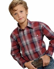 Roper Boy's Long Sleeve Plaid Snap Shirt - Red (Closeout)